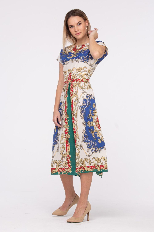 Платье З440-377 - Разнообразные узоры и росписи добавляют женщине шарма и одновременно вносят в образ непредсказуемость и новизну.Платье а-силуэта, длиной миди превосходно смотрится на любом типе фигуры. Не стесняет движений. Платье удачно скроет возможные несовершенства фигуры – любая модница будет чувствовать себя уверенно и комфортно.Скромный округлый вырез горловины, удлиненная линия плеча. Модель без рукавов открывает взору красоту женских рук.Платье из натуральной вискозной ткани приятно прилегает к телу.Завораживающее платье с ярким принтом – отличное решение для обновления весенне-летнего гардероба и поможет в создании оригинальных летних образов.