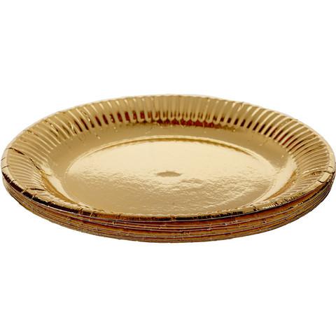 Тарелка одноразовая Bibo бумажная золотистая 230 мм 10 штук в упаковке