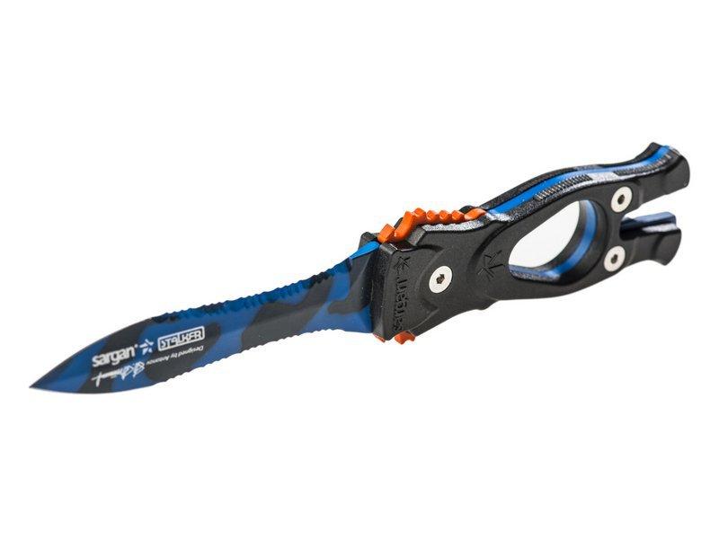 Нож SARGAN Сталкер-стропорез Z1 - синий камуфляж