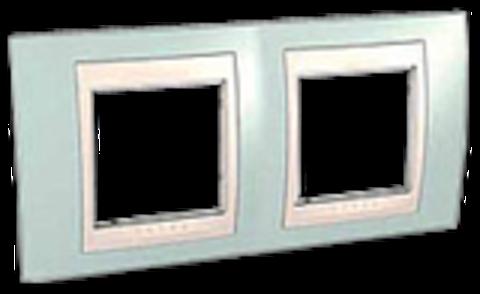 Рамка на 2 поста. Цвет Морская волна/бежевый. Schneider electric Unica Хамелеон. MGU6.004.570
