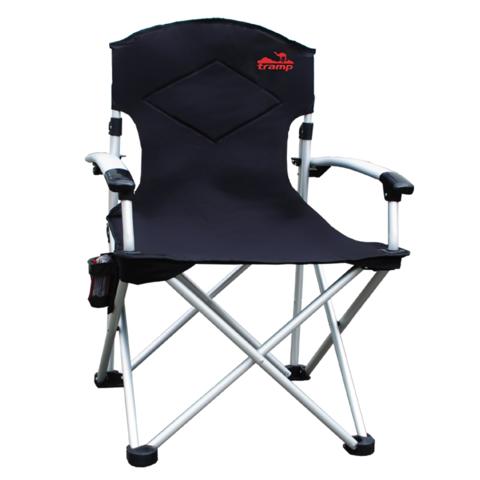 Tramp кресло раскладное с жесткими подлокотниками (черный/серый)