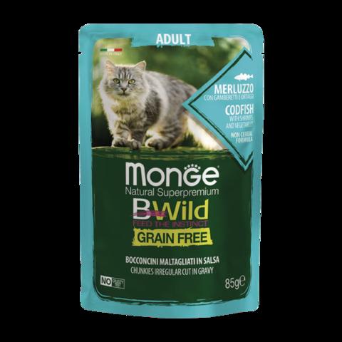 Monge Cat BWild Grain Free Консервы для взрослых кошек из трески с креветками и овощами, беззерновые (пауч)