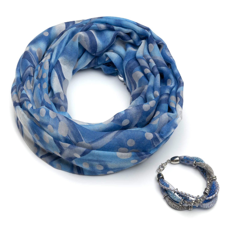 Голубой хлопковый шарф браслет
