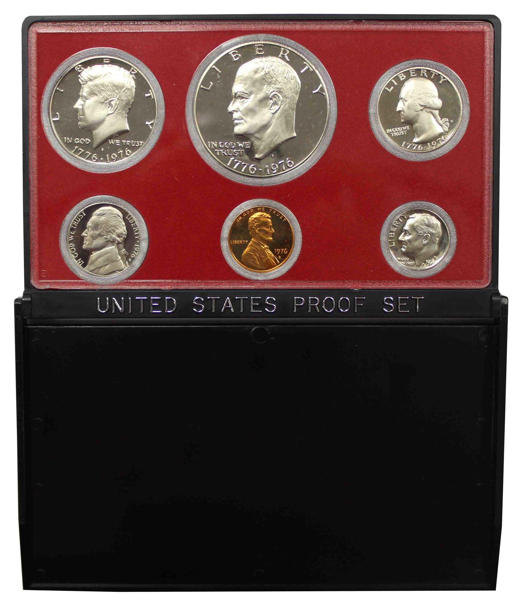 Годовой набор монет США 1976 год в футляре (1, 5, 10, 25, 50 центов; 1 доллар) (6 монет)