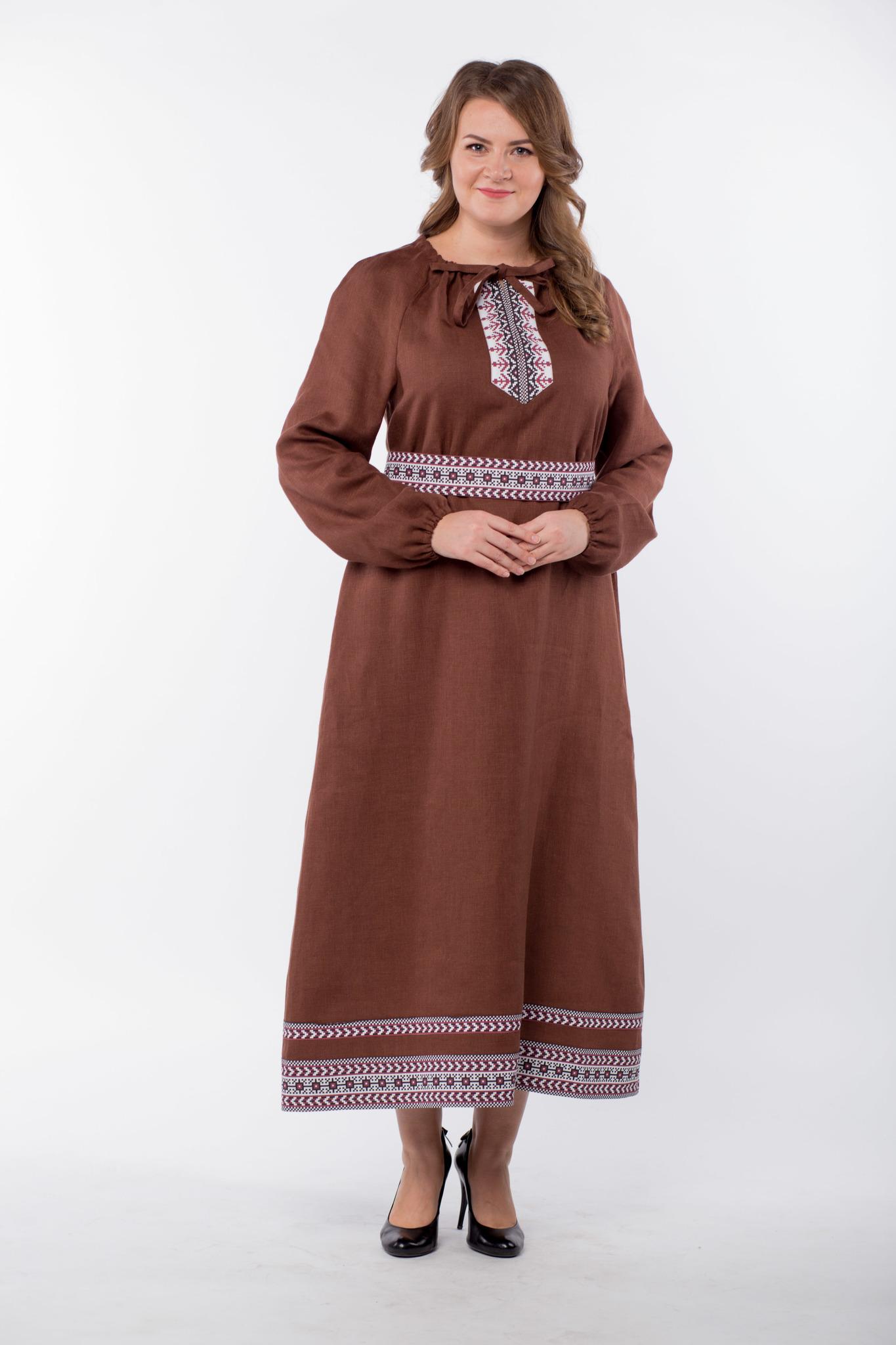 Платье льняное Новгородское 50-52 размер полный рост