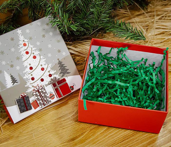 BOX262-1 Картонная коробка для новогодних подарков с елкой (16*16*7 см) фото 05