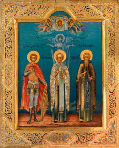 Икона  святые Дмитрий Солунский, Николай Чудотворец и Макарий Клязинский на дереве на левкасе мастерская Иконный Дом