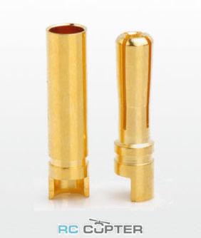 Разъём 4мм AMASS типа банан (banana / bullet / пуля) позолоченный (3 пары)