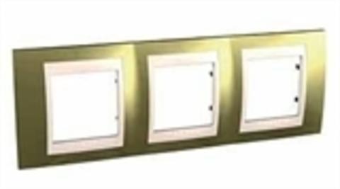 Рамка на 3 поста. Цвет Золото/Бежевый. Schneider electric Unica Хамелеон. MGU66.006.504