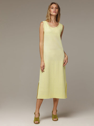 Женское желтое платье без рукава из хлопка - фото 1