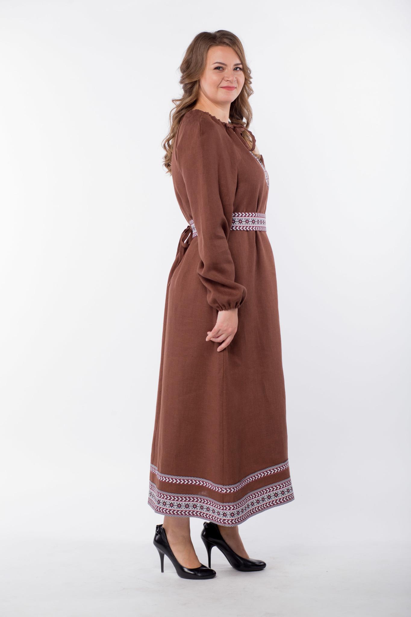 Платье льняное Новгородское 50-52 размер вид сбоку