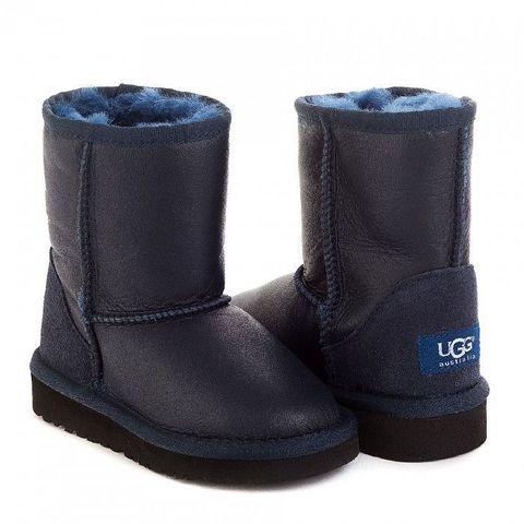UGG Kids Classic Short Metallic Navy