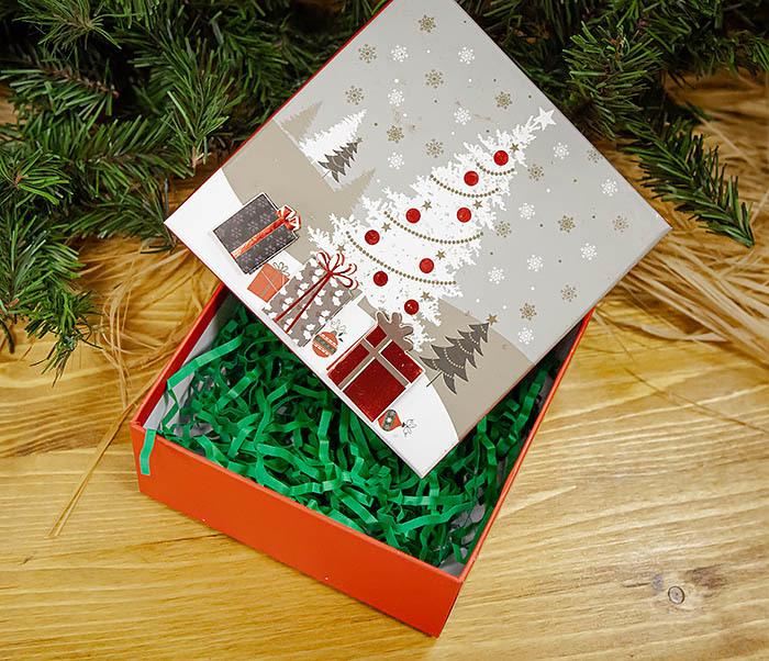 BOX262-1 Картонная коробка для новогодних подарков с елкой (16*16*7 см) фото 06
