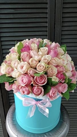 101 роза в шляпной коробке #1542