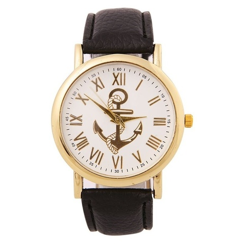 Часы в морском стиле с золотым якорем римские (черный)
