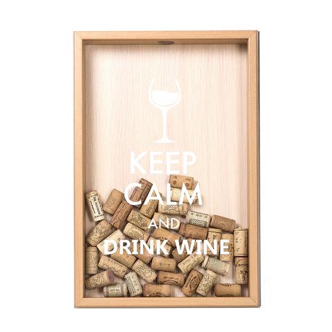 Копилка для винных пробок Keep calm (белая надпись), Бук