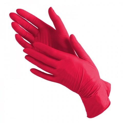 Перчатки косметические нитриловые Красные р. XS (100 штук - 50 пар)