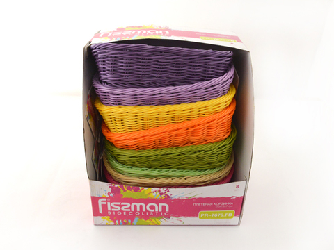 Плетеная корзинка прямоугольная 26x19x7 см (пластик)