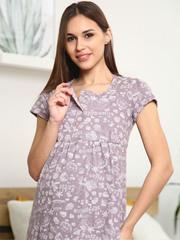 Мамаландия. Сорочка для беременных и кормящих с кнопками короткий рукав, пончики/коричневый