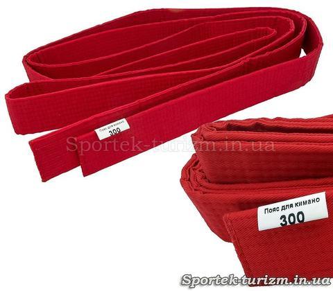 Червоний пояс 300 см для кімоно