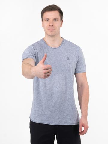 Мужская футболка «Великоросс» цвета серый меланж круглый ворот