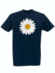 Футболка с принтом Цветы (Ромашки) темно-синяя 001