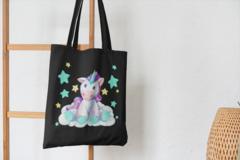 Сумка-шоппер с принтом Единорог (Unicorn) черная 004