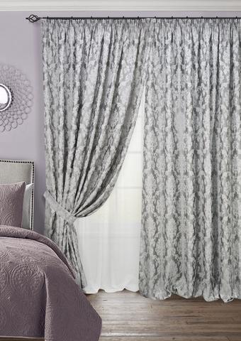 Комплект штор с тюлем и подхватами жаккард Афина серый