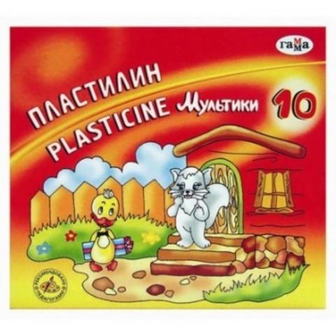 Пластилин классический Гамма Мультики 10 цветов 200 г со стеком