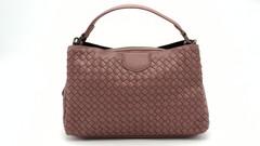 Розовая сумка классической формы из экокожи