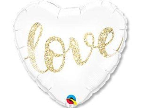 Фольгированное сердце LOVE глиттер золото