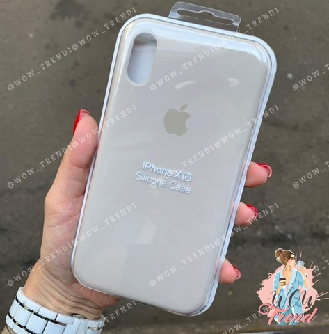 Чехол iPhone XR Silicone Case /stone/ светло-серый original quality