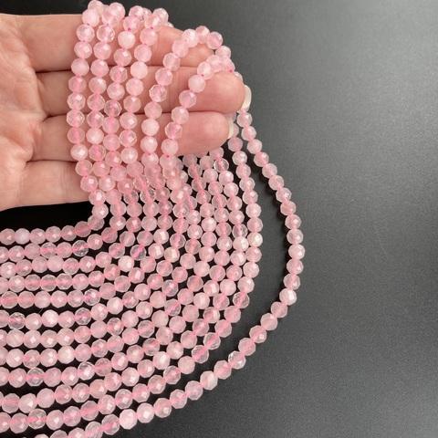 Бусины розовый кварц A+ гранёный 5,7 мм цена за 35 бусин (~19 см)