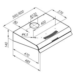 Вытяжка Konigin Verena II Inox - схема