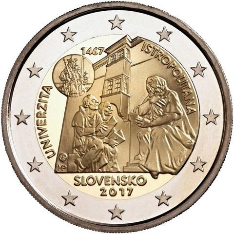 2 евро. 550-летие Истрополитанского Университета. Словакия. 2017 г