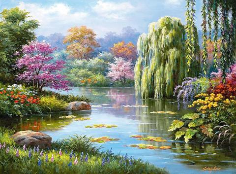 Алмазная Мозаика 50x65 Озеро и разноцветные деревья
