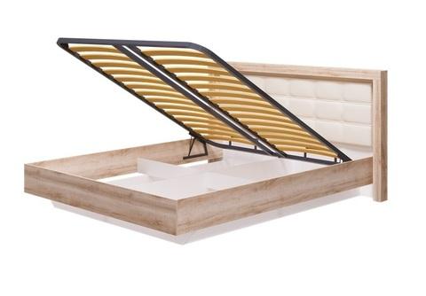 Кровать с мягким изголовьем Люмен 12 Ижмебель 1600 мм с ПМ дуб сакраменто/белый снег глянец