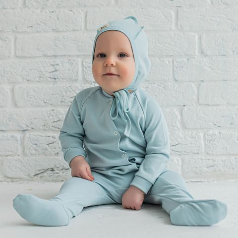 Sleepsuit with snap buttons 0+, Aqua