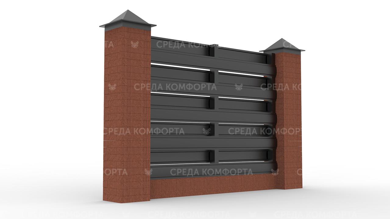 Забор из евроштакетника ZBR0056