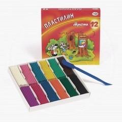 Пластилин классический Гамма Мультики 12 цветов 240 г со стеком