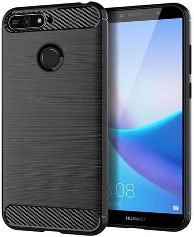 Чехол для Huawei Y6 Prime 2018 (Enjoy 8E, Honor Play 7A Pro) цвет Black (черный), серия Carbon от Caseport