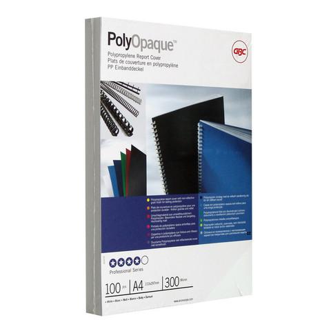Обложки для переплета пластиковые GBC А4 300 мкм белые с тиснением (100 штук в упаковке)