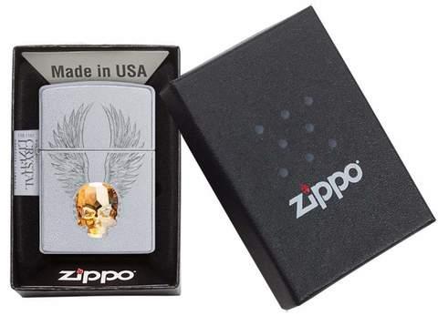 Зажигалка Zippo Classic с покрытием Satin Chrome, латунь/сталь, серебристая, матовая, 36x12x56 мм123