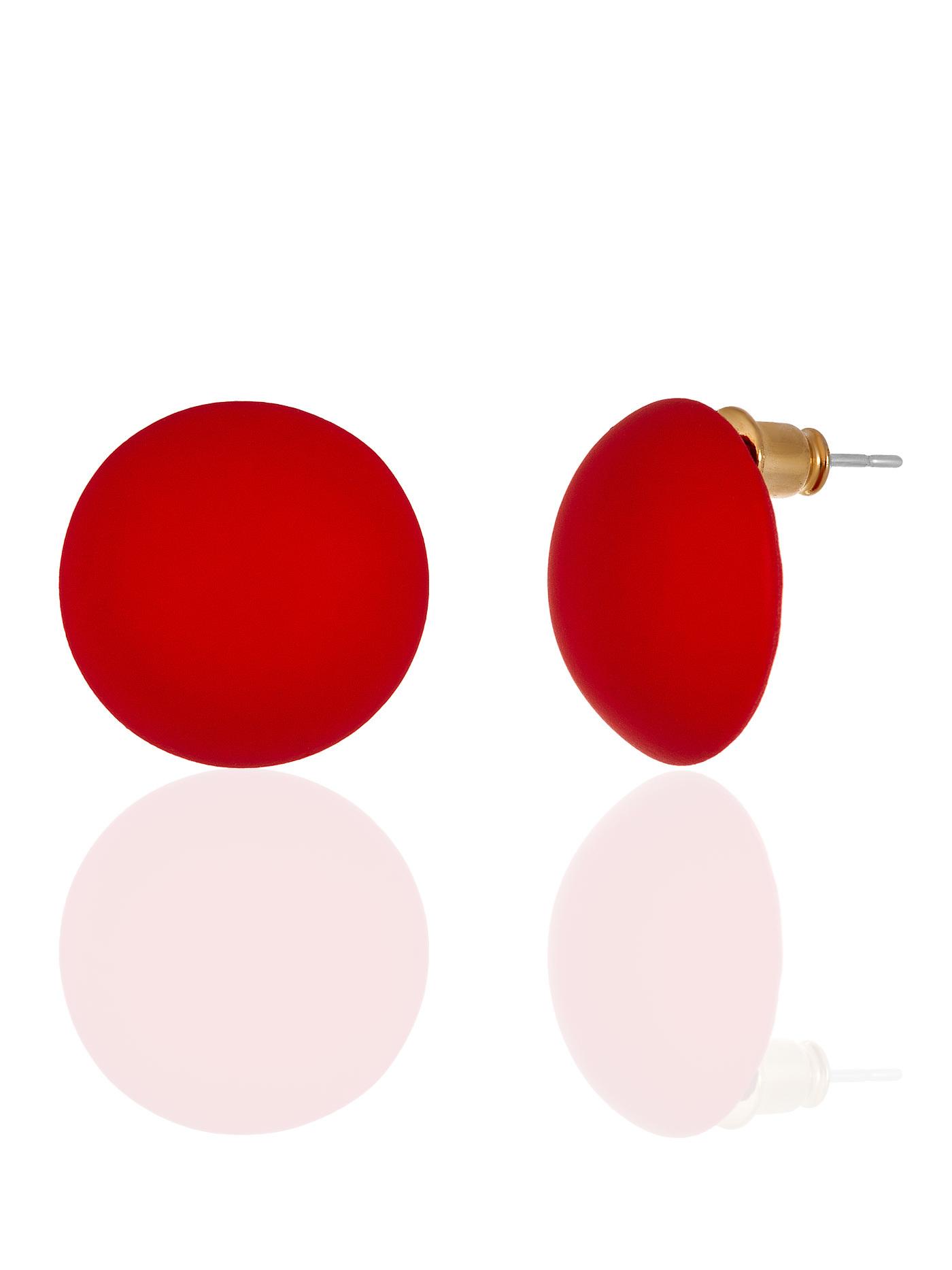 Серьги Полусферы красные