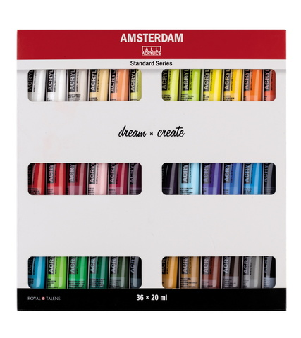 Набор акриловых красок Amsterdam Standard 36 туб по 20мл в картонной упаковке