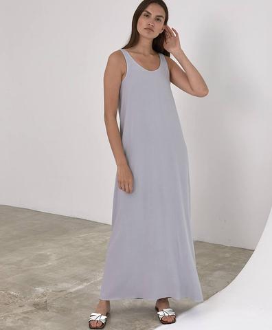 Двустороннее платье макси графитовое/жемчужное