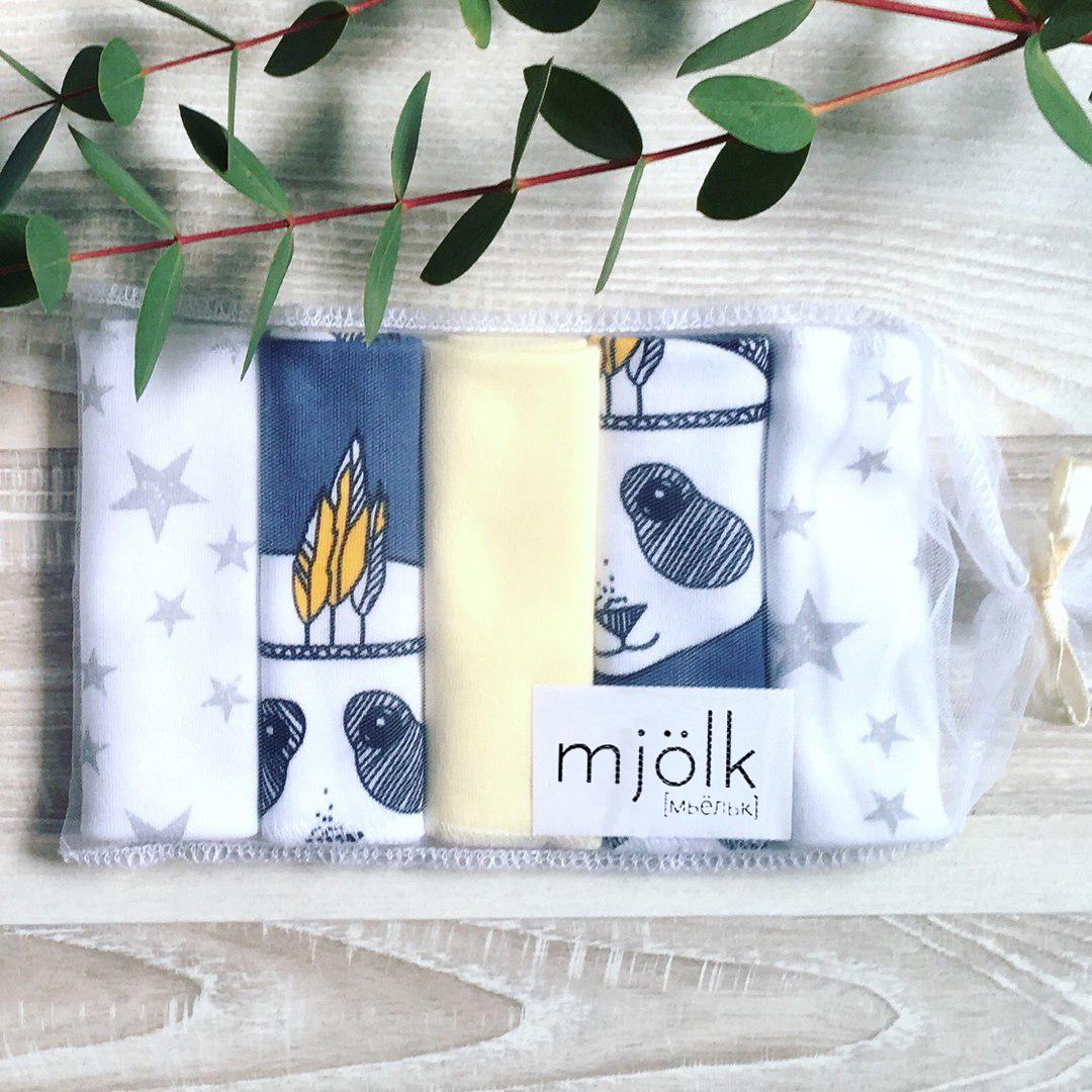 Набор платочков-слюнявчиков Mjölk  Панды