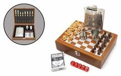 Набор Шахматы с флягой 230 мл (8 унций), 7 предметов, фото 3