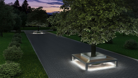 TRIF-MEBEL Скамья четырехугольная ГАЛАКТИКА антивандальная с LED подсветкой