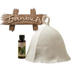 Подарочный Банный набор (шапка, ароматизатор, табличка)